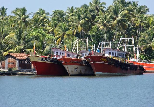 Boats on the ferry journey from Kollam to Amma's Ashram