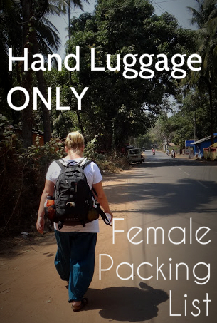 female packing list 35 litres backpacking with hand luggage only
