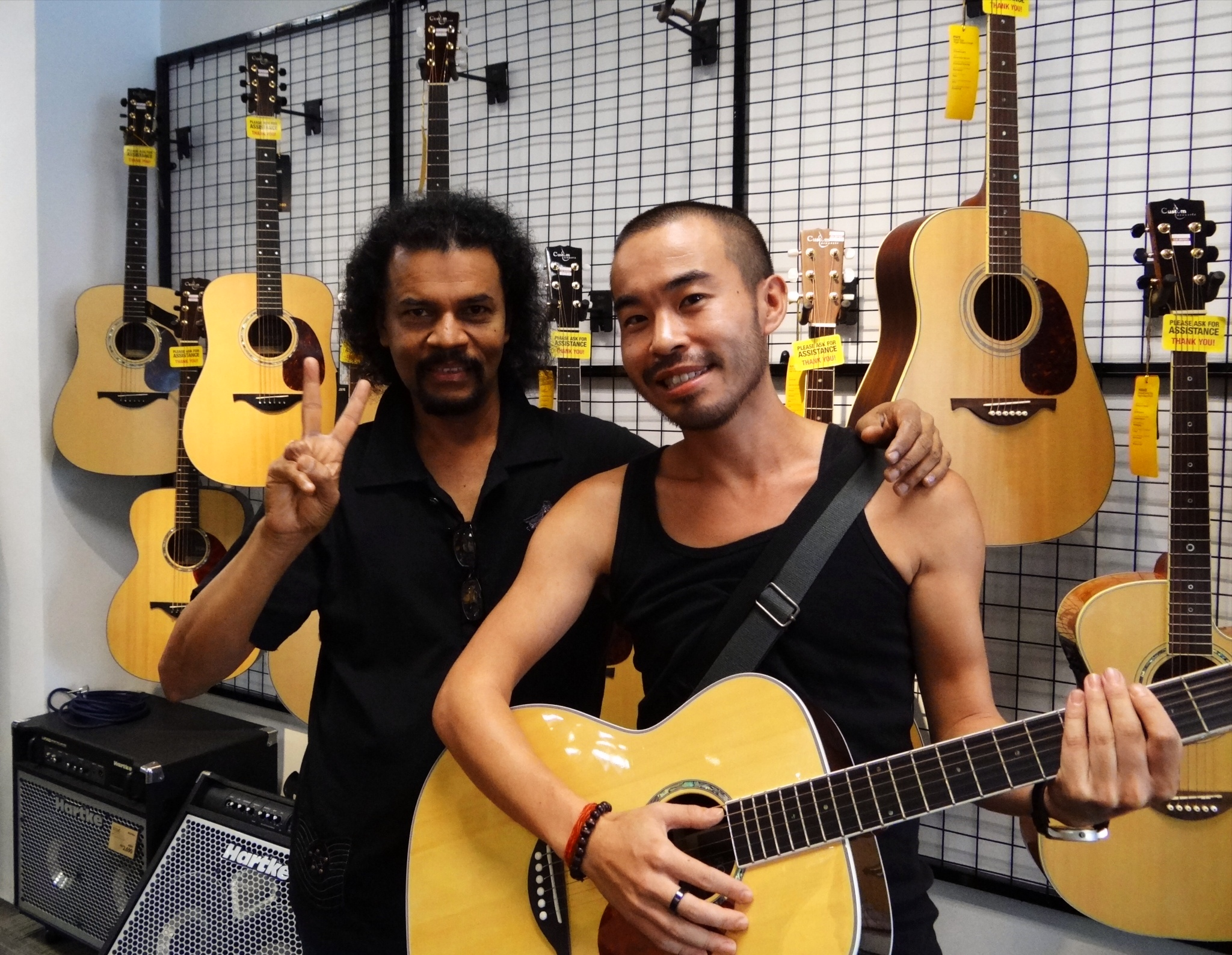 Henry in Guitar shop in Ipoh