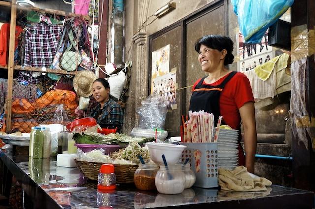 Happy seller in the Old Market, Siem Reap