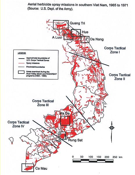 Areas in South Vietnam that were sprayed with Agent Orange (credit to Wikipedia)
