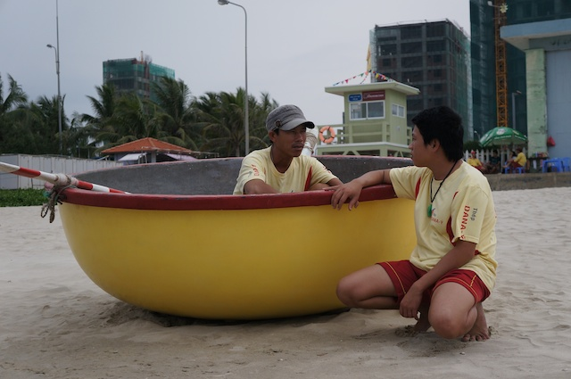 The lifeguards have round boats too