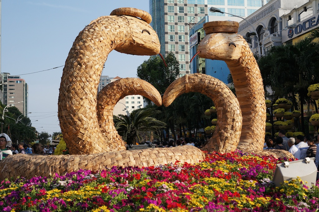 The centrepiece of the flower festival. 2013 is the year of the snake.