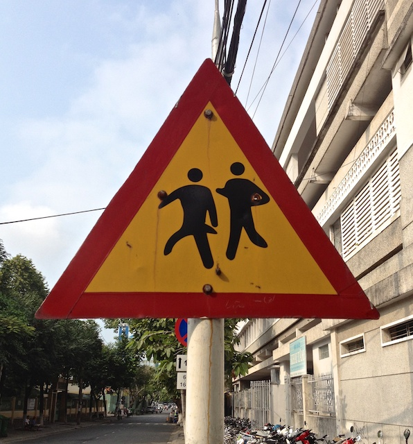 Can you spot anything odd on this sign for a school, or is it just us?