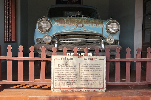 Old car on display at Thien Mu Pagoda in Hue, Vietnam