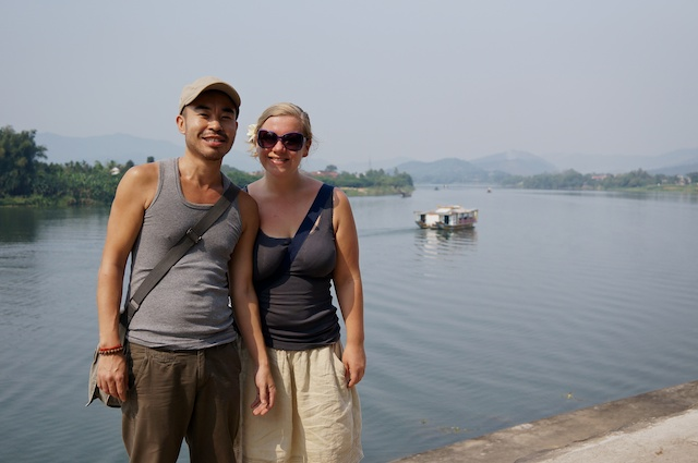 Us infront of the Perfume River in Hue, Vietnam