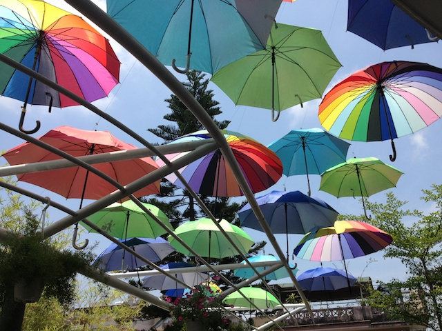 Umbrellas as shade, Bee Coffee in Hue