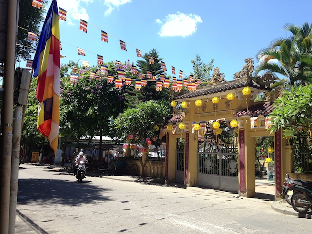 Buddha's Birthday decorations n a temple in Central Vietnam