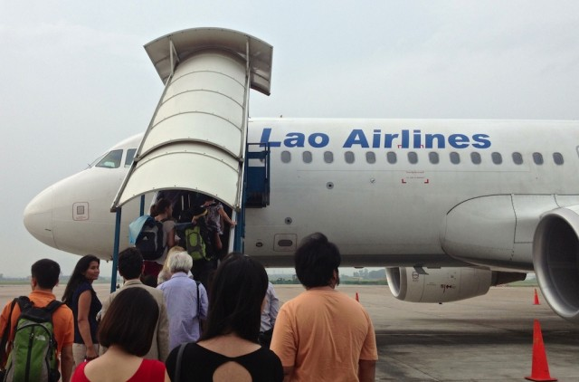 Lao Airlines boarding the plane