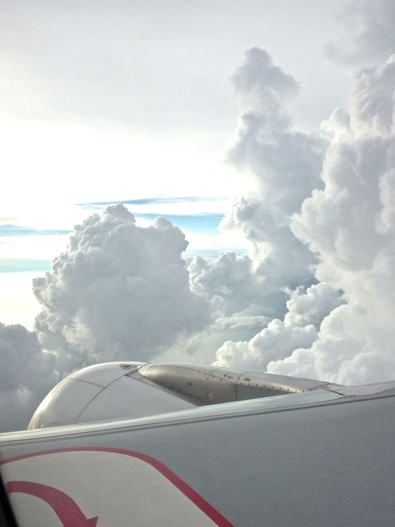 clouds from a plane window