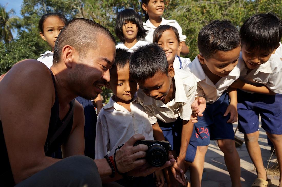 Cambodian school kids looking at at camera