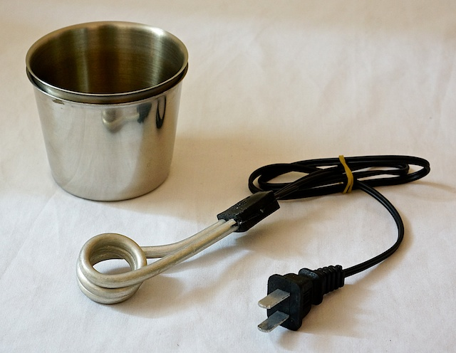 Water heating element and cups
