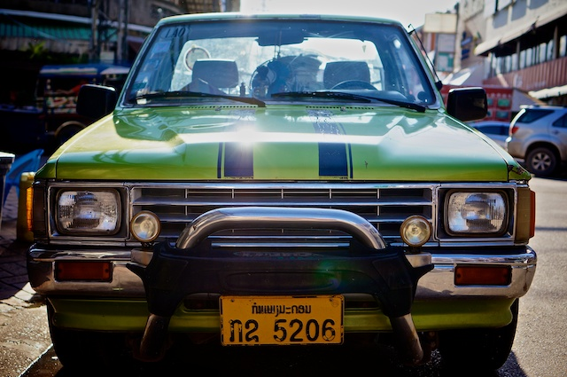 green car (front) Vientiane