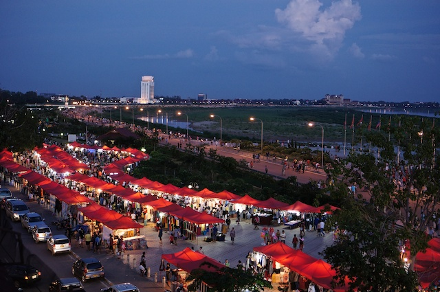 Market on the Mekong at dusk - Vientiane