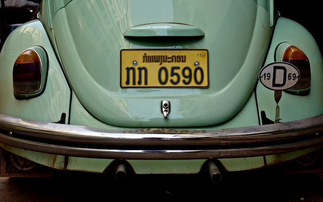 Mint Green VW Beetle rear with 1969 badge