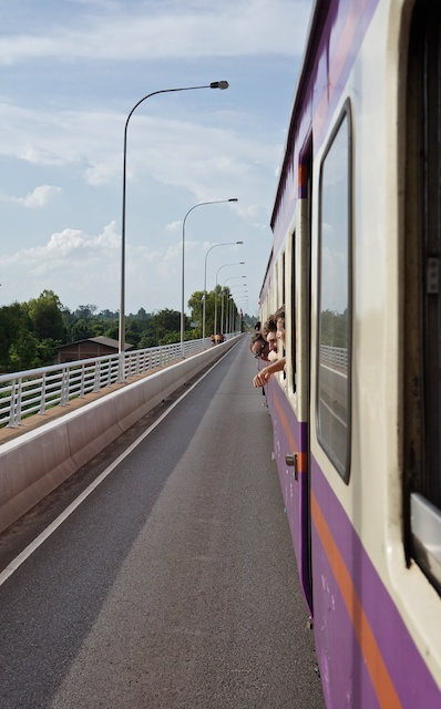 Side of the shuttle train over the Thai - Laos Friendship Bridge