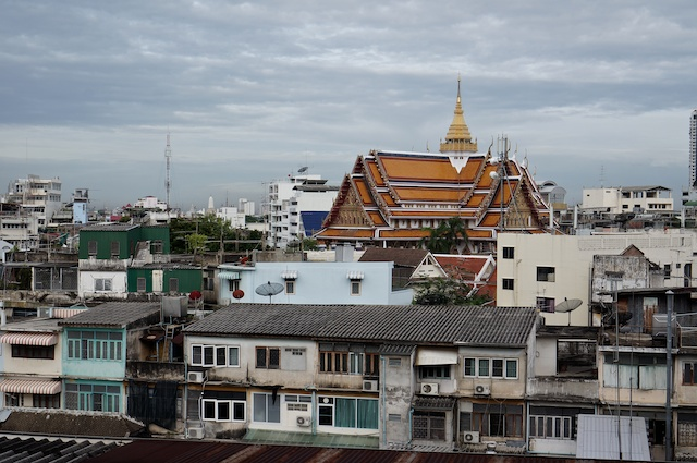 View over Bangkok with temple roof