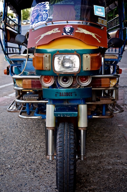 Front of a tuk tuk in Vientiane with BADBOY sticker