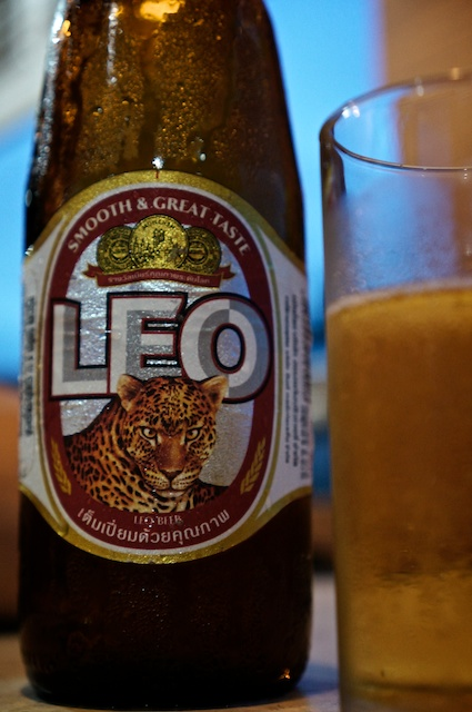 Large Leo beer in a brown bottle