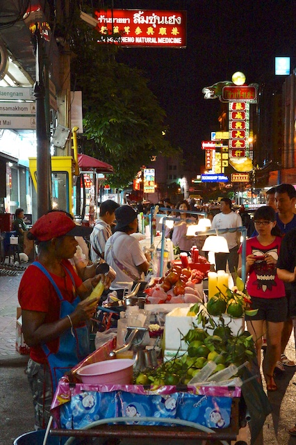 Juice selling at night in Chinatown