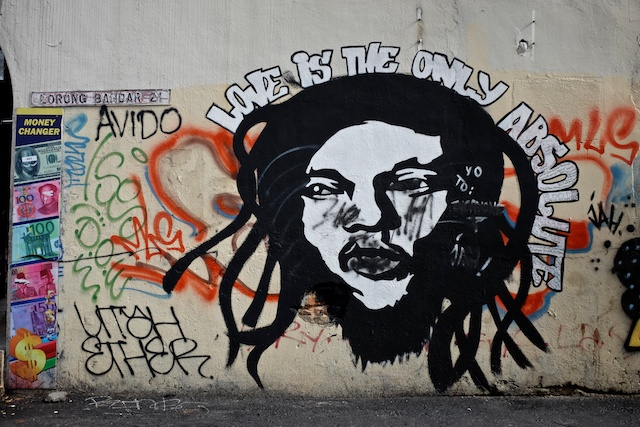 """street art KL """"love is the only absoloute"""