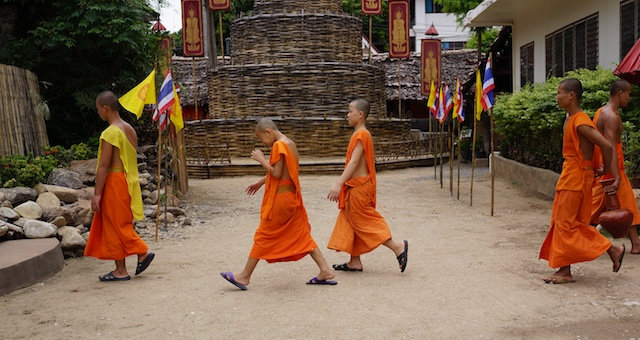 Young monks at Wat Phan Tao