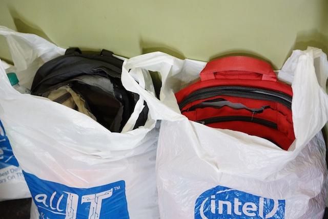 destroyed backpacks