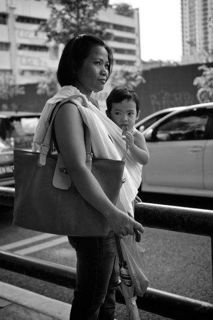 Woman and Child black and white Kuala Lumpur