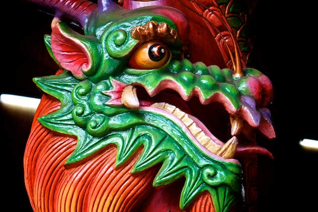 Dragon on a column Guan Di temple in Chinatown, KL