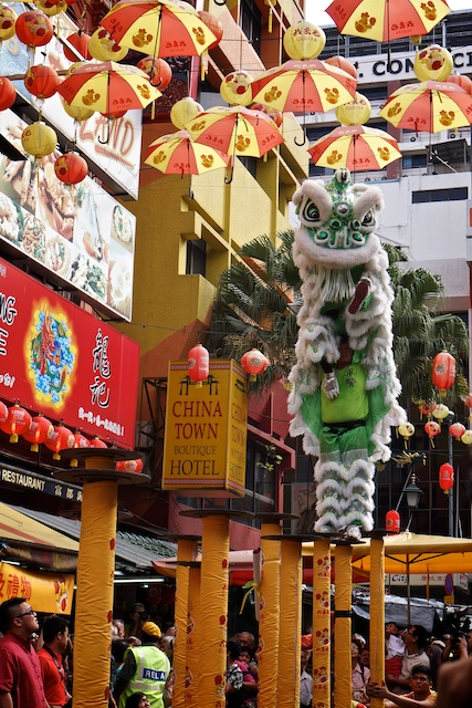 Green Lion at Dongzhi in Chinatown December 2013
