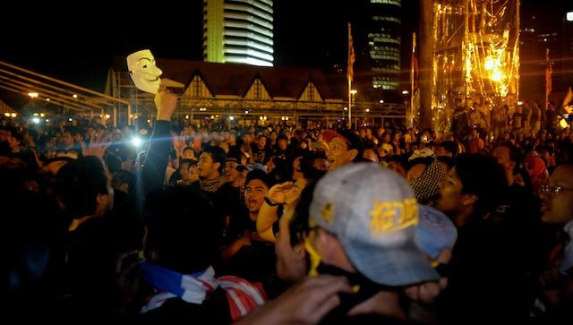 midnight on NYE in Kuala Lumpur at the Turun protest 31.12.13