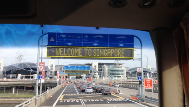 Crossing the bridge into SIngapore
