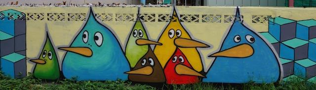 Low Wall birds. Chiang Mai Street Art