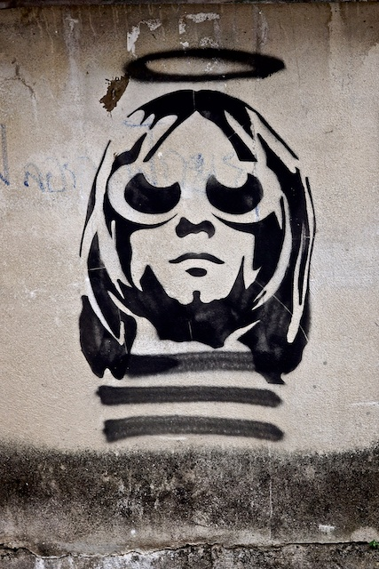 Kurt Cobain the angel street art Chiang Mai