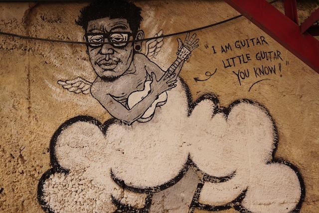 """""""I am guitar"""" at Kad Suan Kaew in Chiang Mai - Street Art"""