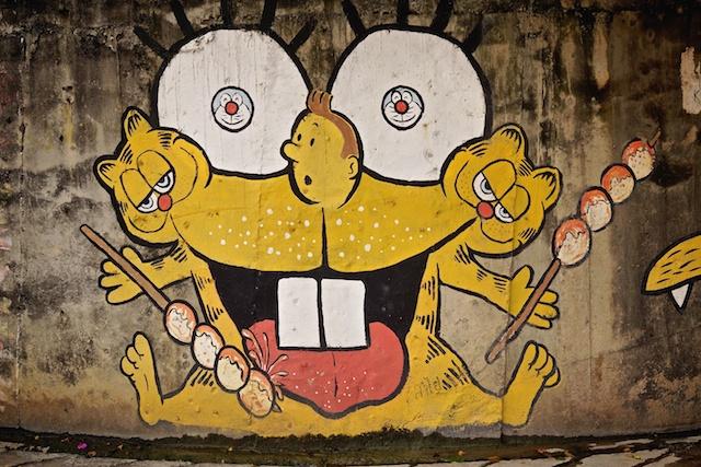 Tin TIn Garfield mash up at Kad Suan Kaew