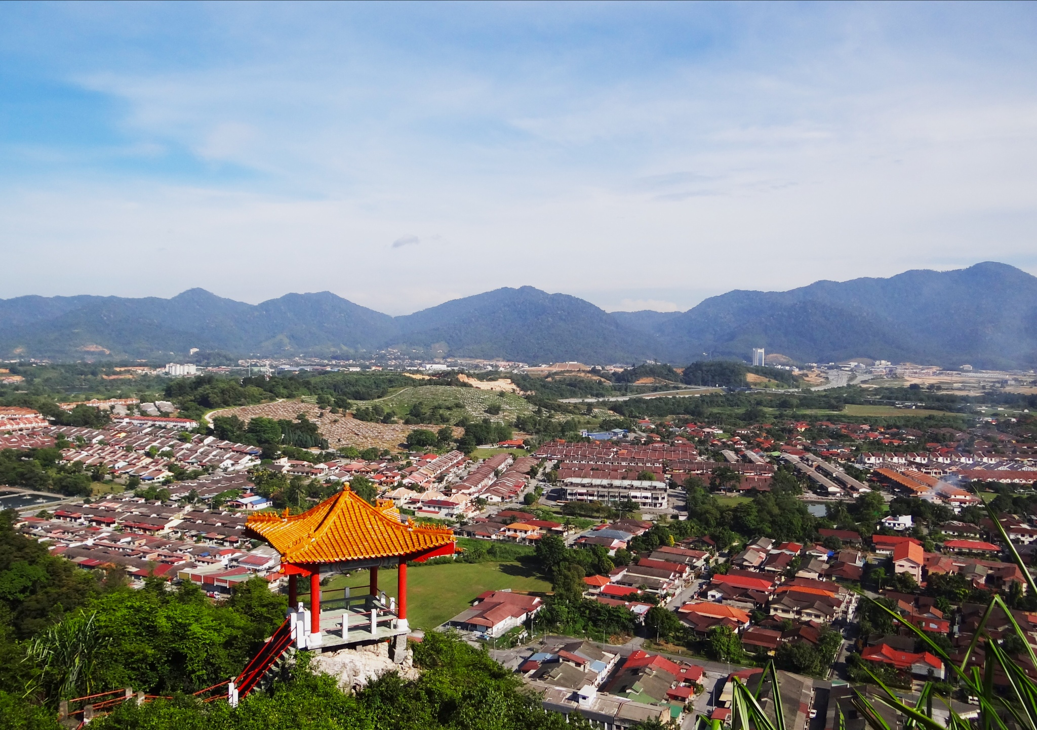 View from the top of the hill at the Perak Cave Temple Ipoh, Malaysia
