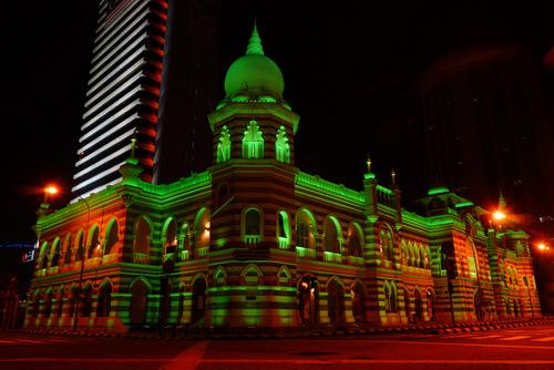 Sultan Abdul Samad building by night in Kulala Lumpur Malaysia