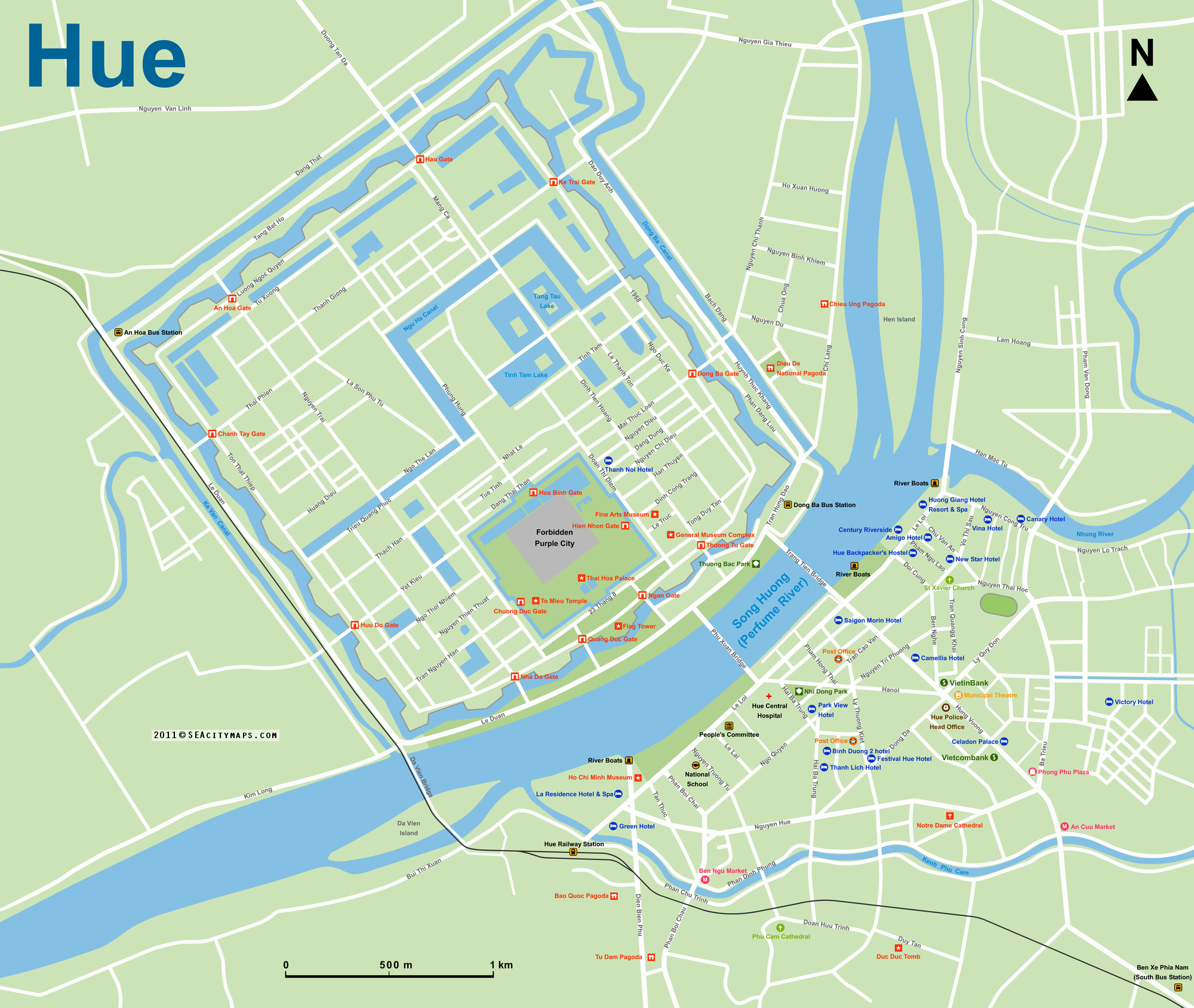 map of Hue, Vietnam
