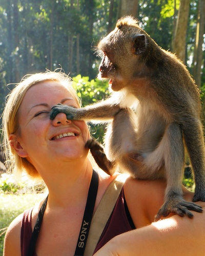 me and a monkey in Bali