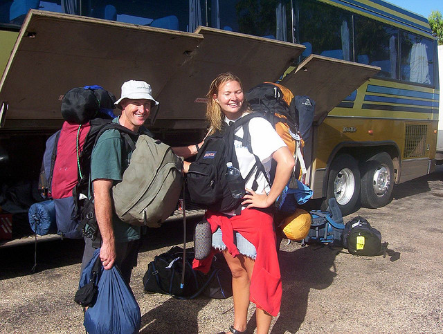 Backpackers with big bags