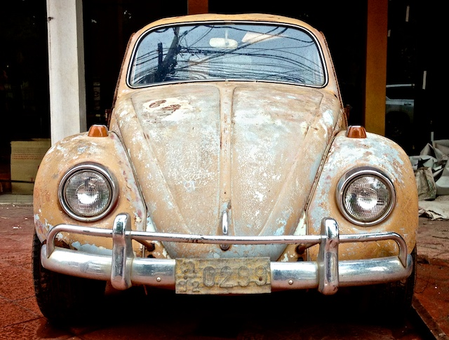 orange VW Beetle front