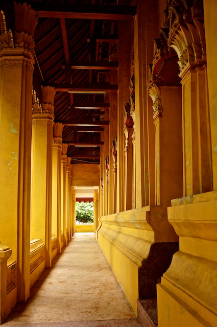 The Yellow walls of Wat Mixay, Vientiane