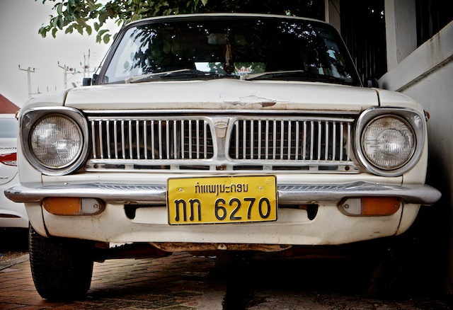 grill of classic white car in Vientiane