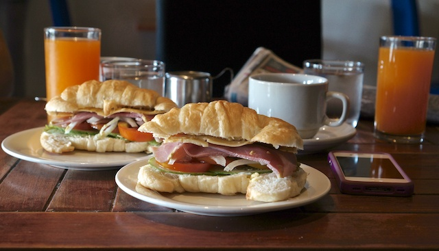 Breakfast croissants for 2 at the Scandinavian Bakery in Vientiane