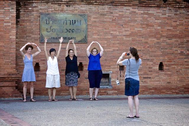 Ladies posing outside Tha Pae Gate in Chiang Mai