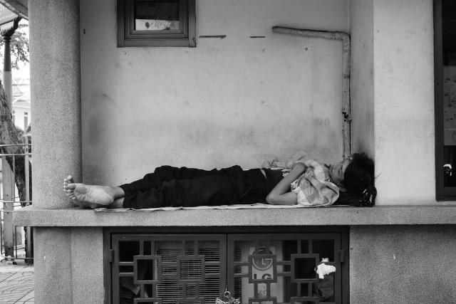 sleeping person in Bangkok