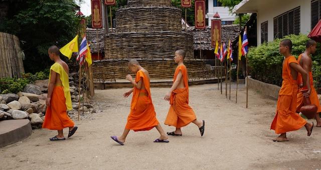 Young monks at Wat Phan Tao