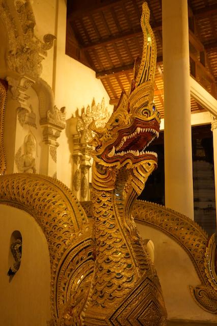 Ordination hall nage at Wat chedi Luang at night