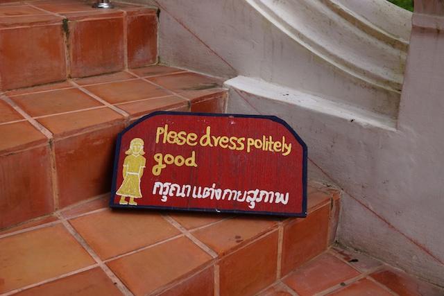 Wat Umongmahatherachan sign for dress code
